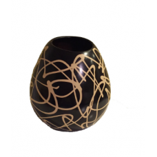 Large Egg-Shaped Abstract Patterned Vase
